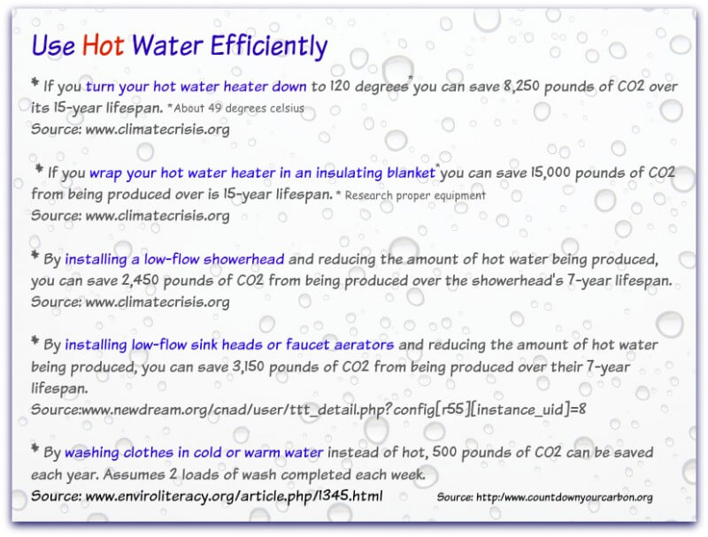 Climate change recommendations for using hot water