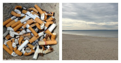 Cigarette butts and beach