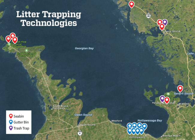 Map of Georgian Bay Forever Litter Trapping Devices
